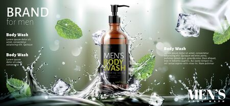 Men's body wash ads with splashing water and ice cubes effect in 3d illustration 矢量图像