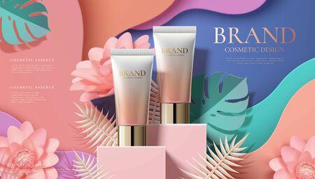 Annonces de tubes en plastique cosmétiques sur podium carré et fleurs d'art en papier en illustration 3d Vecteurs