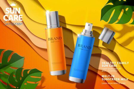 Sunscreen spray product lying on paper art beach in 3d illustration, sunblock ads Stock Vector - 130601414