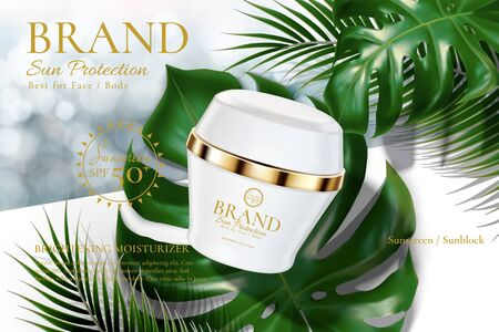 Sunblock cream product with tropical leaves on bokeh glitter background in 3d illustration
