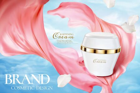 Cosmetic cream jar ads on blue sky with pink chiffon texture in 3d illustration