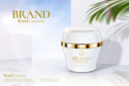 Cosmetic cream jar ads on modern white wall background with tropical leaves in 3d illustration Illustration