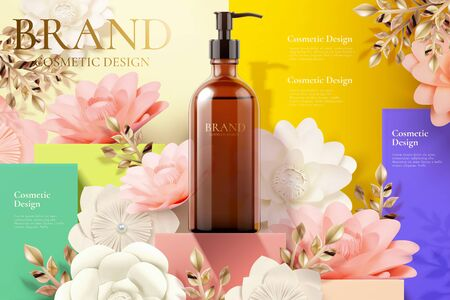 Reklamy butelek z pompką na kwadratowym podium i papierowych kwiatach na ilustracji 3d