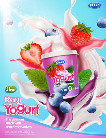 Berry yogurt ads with splashing sauce and berries on blue background in 3d illustration Foto de archivo - 130601421