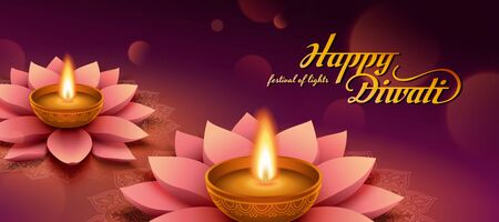 Elegant happy Diwali banner with lotus oil lamp on purple background