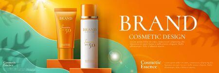 Banner pubblicitari di prodotti per la protezione solare su podio quadrato arancione e sfondo di arte di carta in illustrazione 3d Vettoriali