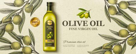 Anuncios de aceite de oliva laicos planos con rama de olivo de estilo grabado en madera en la ilustración 3d