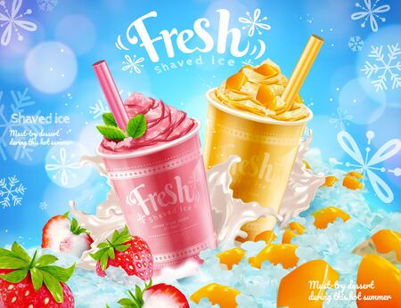 Strawberry and mango shaved ice ads with snow flakes effect in 3d illustration Illustration