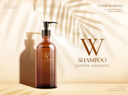 Annonces de shampooing de nettoyage doux avec une bouteille de pompe brune et des ombres de feuilles de palmier en illustration 3d