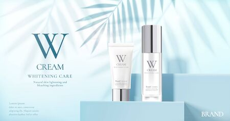 Skin care product set ads with white bottles on blue square podium stage and palm leaves shadows in 3d illustration