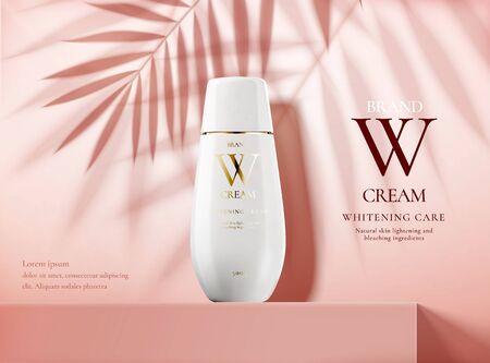 Annunci di prodotti per la cura della pelle con bottiglia bianca su podio quadrato rosa e ombre di foglie di palma in illustrazione 3d