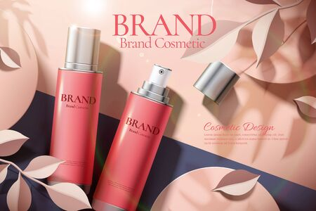 Skincare product ads with lying spray bottle and paper art leaves in 3d illustration
