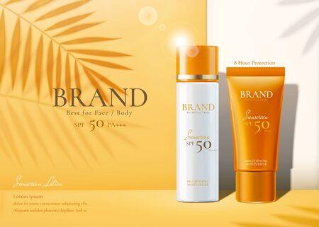 Los productos de protección solar establecen anuncios con sombras de hojas de palma de verano sobre fondo amarillo cromado en la ilustración 3d Ilustración de vector