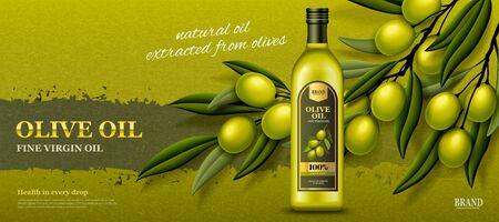 Olive oil banner ads with fresh olive branch in 3d illustration Иллюстрация