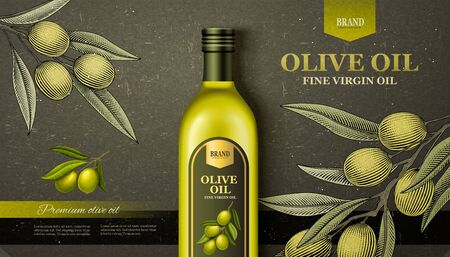 Flat lay olive oil ads with woodcut style olive branch in 3d illustration Иллюстрация