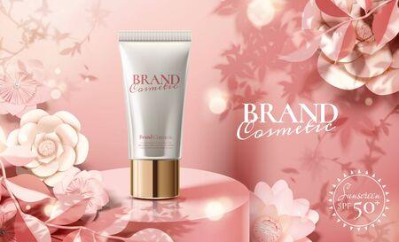 Reklamy z tworzywa sztucznego do pielęgnacji skóry z papierowymi kwiatami na okrągłej scenie podium na ilustracji 3d