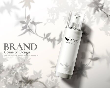 Skincare product ads with lying spray bottle and nature leaves shadows on white floor in 3d illustration