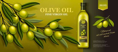 Olive oil banner ads with fresh olive branch in 3d illustration Иллюстрация