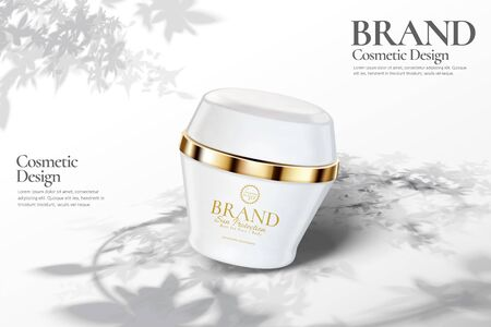 Skincare cream jar ads with leaves shadow on white background in 3d illustration