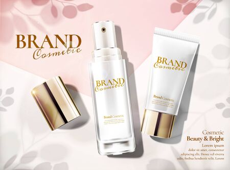Skincare set ads with lying products and leaves shadows on the floor in 3d illustration