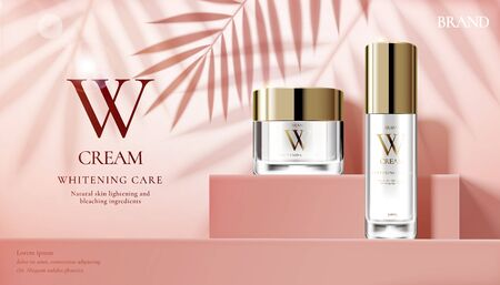 Skin care set ads with cream jar on pink square podium stage and palm leaves shadows in 3d illustration Vettoriali