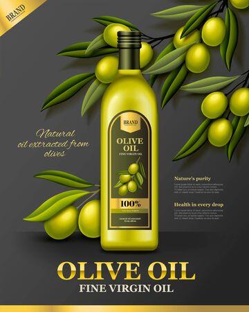 Olive oil poster ads with fresh olive branch in 3d illustration Иллюстрация
