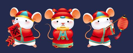 Cute white mice wearing folk costume holding lantern, firecrackers and gold ingot