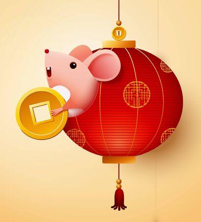 Schattige muis houdt gouden munt vast en verschijnt uit rode lantaarn