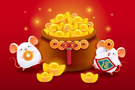 Lovely chubby white mice with a bag of golden ingots and coins on red background, Chinese text translation: Fortune