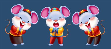 Chinese new year mice character design, cute mouse doing fist and palm salute in folk costume Vectores