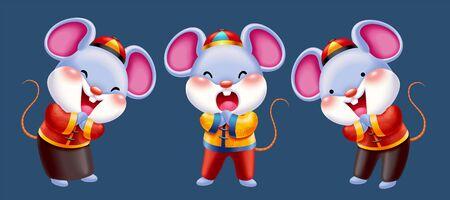 Diseño de personajes de ratones de año nuevo chino, ratón lindo haciendo saludo de puño y palma en traje popular