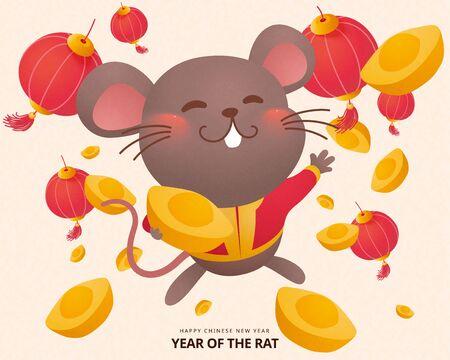 Cute grey mouse splurging gold ingots for lunar year