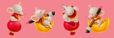 Year of the rat with four mice holding paint brush and sit on gold ingot or lantern, pink banner