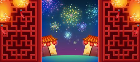 Fireworks background with traditional chinese door frame and hanging lanterns