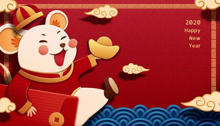 White mouse holding red packet and gold ingot on red background in paper art style