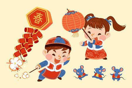 Children lighting up firecrackers characters, Chinese text translation: Spring Vettoriali