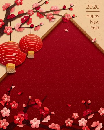 Elegant spring festival illustration with red lanterns hanging on plum flowers tree, red copy space for design