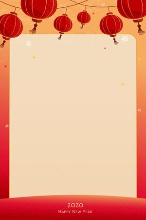 Hanging lanterns background with copyspace and red frame
