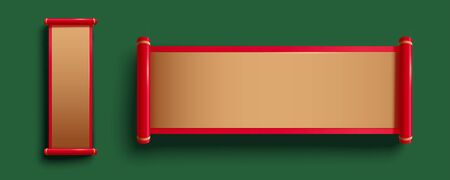 Blank golden color red frame scroll on green background