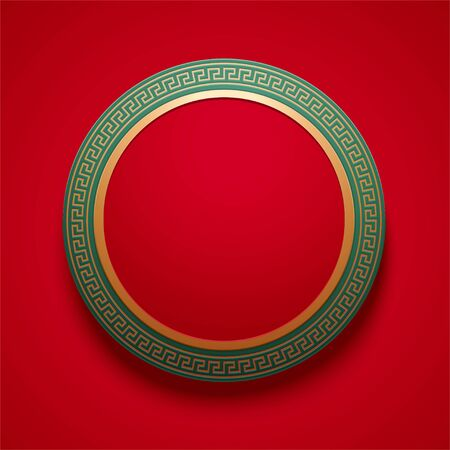 Chinese traditional round frame in red and green for design uses