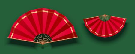 Red paper folding fan on green background 向量圖像