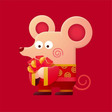 Cute mouse wearing folk costumes and holding red packets