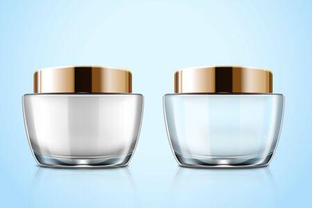 Transparent glass cosmetic cream jar mockup set in 3d illustration