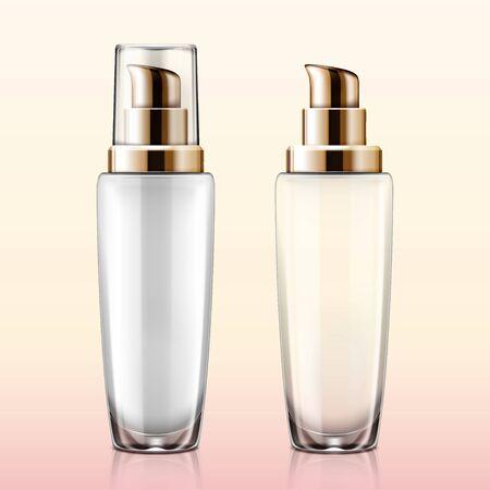 Transparent glass cosmetic lotion pump mockup set in 3d illustration Çizim