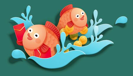 Cute fish holding red packets and swimming in the water, paper art style Ilustracja