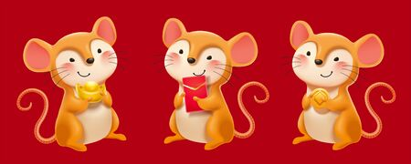 Brown mice holding red packet and gold ingot on red background for new year Çizim