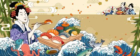 Geisha eating sashimi on giant wave tides