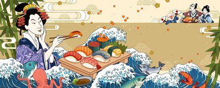 Geisha eating sashimi on giant wave tides