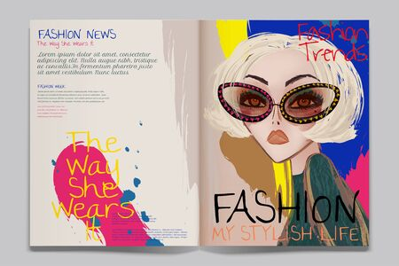 Fashion article illustration with modern bright blonde woman wearing sunglasses 向量圖像