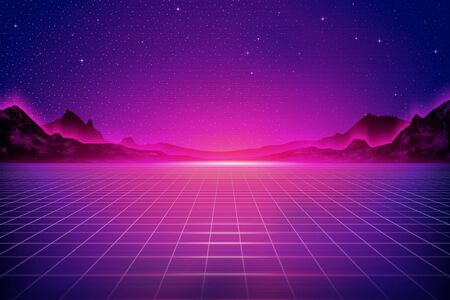 Cyber punk style grid floor and mountain background in purple tone
